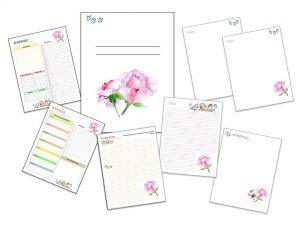 Journal Pages with roses and butterflies